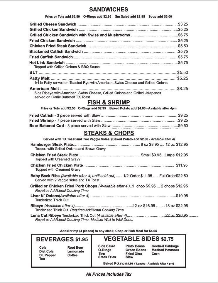 Darren's American Grill lunch & dinner menu image pg 2